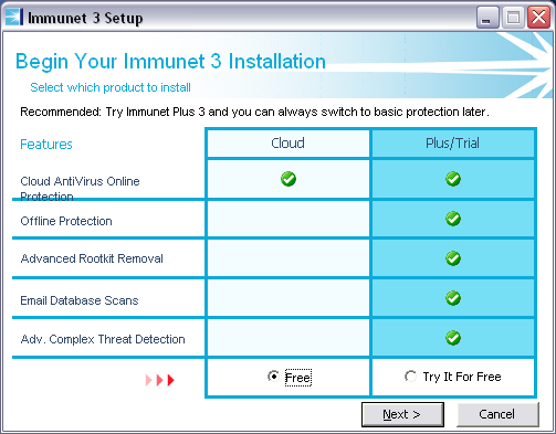 Při instalaci vyberte verze Cloud Free