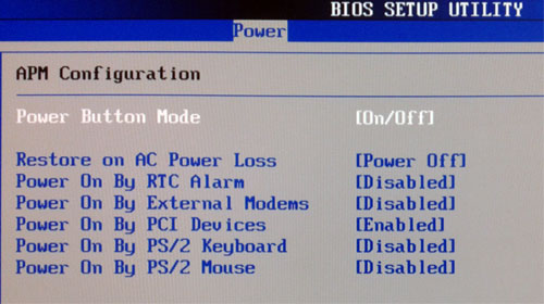 WOL BIOS ASUS MB P5W64 WS Pro