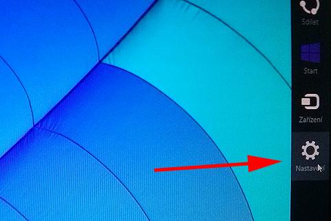 V pravé části Windows 8 vybrat Nastavení