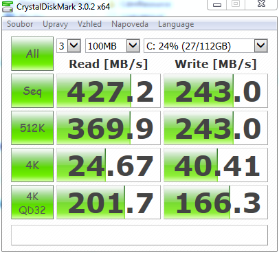 X200CA CrystalDiskMark SSD Kingston 120GB