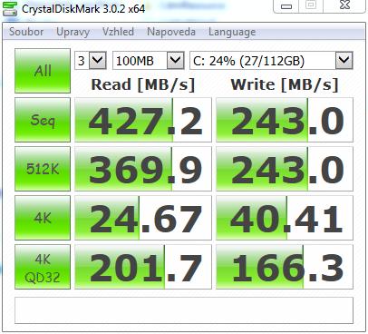 X200CA CrystalDiskMark SSD Kingston 120GB