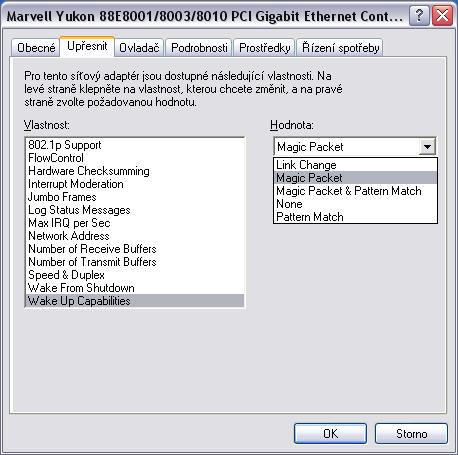 WOL Windows XP Magic Packet